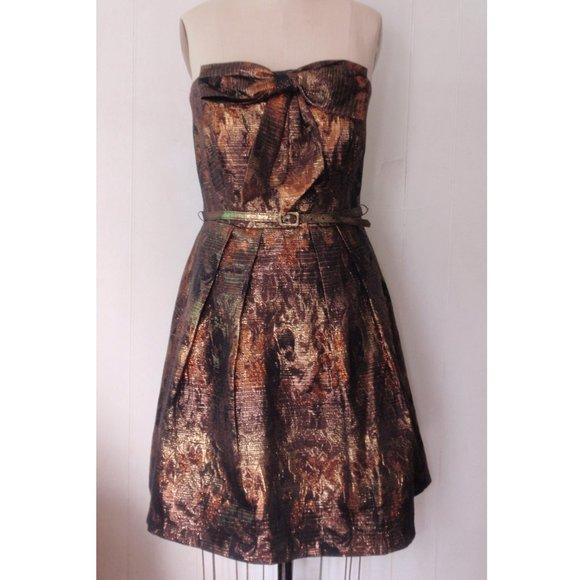 EVA FRANCO BRONZE GOLD FLORAL STRAPLESS DRESS 14
